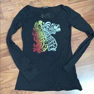 Lucky Brand Wide Neck Concert Long Sleeve Tee